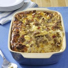 Cheese Sausage Strata- I've made this several times and it is very good.  Put it together the night before, refrigerate it, and pop it in the oven the next morning.  I make mine with 1 lb of sausage and 1 lb of bacon instead of 1 1/2 lb of sausage and 1/2 lb of bacon.  Also, I usually skip the ground mustard.
