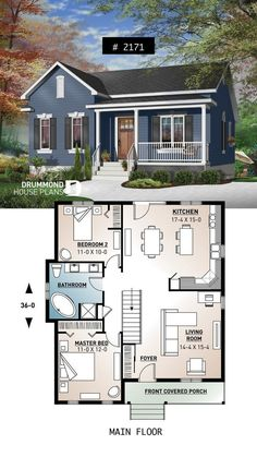 One-story economical house with an open floor plan, kitchen with island . - One-story economical house with an open floor plan, kitchen with island … - Small House Floor Plans, Garage House Plans, House Plans One Story, Story House, Small Kitchen Floor Plans, One Floor House Plans, Little House Plans, Small Modern House Plans, Free House Plans