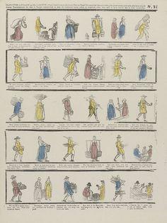 P.C.L. van Staden & Co. | De tooverlantaarn van mr. Laronde [...], P.C.L. van Staden & Co., P.C.L. van Staden, Anonymous, 1850 - 1870 | Blad met 5 rijen met voorstellingen van verschillende straatventers: verkopers van o.a. vodden, huishoudelijke artikelen, groente en fruit, vis, almanakken, brillen en kammen, lucifers, hout, vloermatten. Onder elke voorstelling een onderschrift. Genummerd rechtsboven: No. 74.