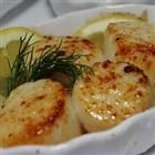 Broiled Scallops with lemon butter.