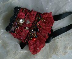 Shabby chic wrist cuff, antique lace cuff, rustic cuff, Victorian cuff, Baroque cuff, Marie Antoinette cuff, Bohemian cuff, Gipsy red cuff