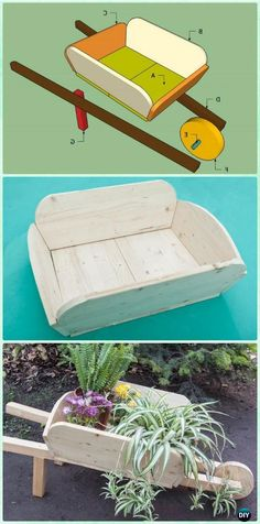 DIY Wooden Wheel Barrow Planter Free Plan and Instruction - - DIY WheelBarrow Miniature #Garden Projects