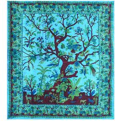 """BLUE TREE OF LIFE Huge Tapestry/Wall Hanging 84""""x100"""""""