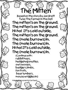 "Song to accompany the book: The Mitten by Jan Brett ~ sung to the tune of ""The Farmer in the Dell"" Preschool Music, Preschool Lessons, Kindergarten Literacy, Preschool Winter Songs, Winter Songs For Kids, January Preschool Themes, Preschool Ideas, Preschool Crafts, Preschool Transitions"