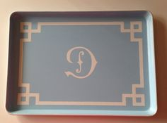 XL white Chinoiserie initial light blue by sarahhansenannapolis