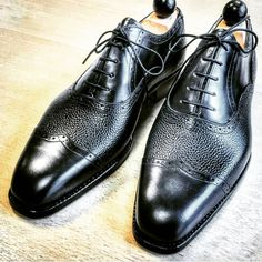 """ascotshoes: """" A lovely pair of V-tip Oxford by our Vass enthusiast @gentlemenclover . Played with the filter to give it that mesmerised black powerful look. What other colour combo's would you select for your first Vass MTO. Use hashtags for all Vass..."""