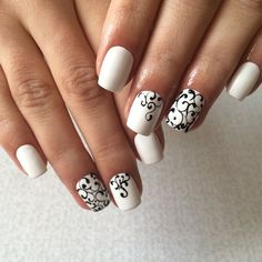 130+ black and white nails art 2018