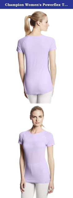 Champion Women's Powerflex Tee, Purple Mist, X-Small. Throw the incredibly soft and comfortable seamless Powerflex Tee on over your favorite sports bra. It's your coolest cover-up ever, long, lean and ready for action with Powerflex Stretch for flexible range of motion.