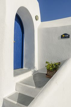 Entrance to a house in Firostefani, Santorini, Greece