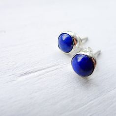 Lapis Lazuli Earrings  Deep Midnight Blue Posts  by CamileeDesigns, $34.00