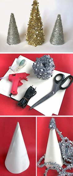 Table Top Tinsel Tree | Click for 30 DIY Christmas Table Centerpiece Ideas | DIY Christmas Table Decoration Ideas More