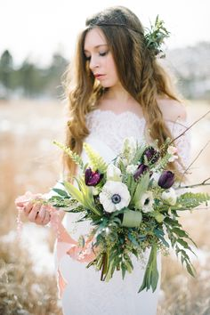 Winter bridal bouquet with anemones | Carrie King Photographer | see more on: http://burnettsboards.com/2015/02/winter-bride/