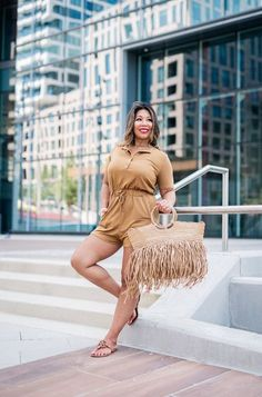 Brown romper, fall transition, Revolve outfit, Tory Burch sandals #LTKSeasonal #LTKshoecrush #LTKitbag Hot Summer Outfits, Warm Weather Outfits, Tory Burch Sandals, Vacation Style, Spring Trends, Bold Prints, Wedding Season, Get Dressed, Rompers