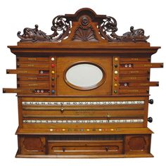Carved Wall-Mounted Billiards, Snooker, or Pool Scoring Cabinet   From a unique collection of antique and modern sports at https://www.1stdibs.com/furniture/more-furniture-collectibles/sports/