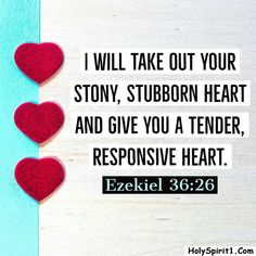 I will give you a new heart and put a new spirit in you; I will remove from you your heart of stone and give you a heart of flesh. Ezekiel 36:26 New Heart, Verse Of The Day, Encouragement, Bible, Spirit, Words, Stone, Biblia, Batu