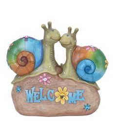 Another great find on #zulily! 'Welcome' Snail Garden Statue #zulilyfinds