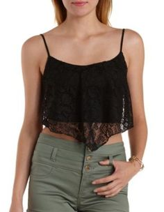 Pointed Lace Flutter Crop Top by Charlotte Russe
