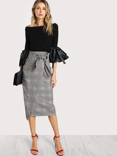 Shop Grommet Detail Bow Tie Plaid Wrap Skirt online. SheIn offers Grommet Detail Bow Tie Plaid Wrap Skirt & more to fit your fashionable needs.