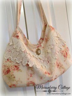 Vintage Bags Vintage Rose Garden Slouchy handbag with vintage crochet - Diy Handbag, Diy Purse, Vintage Purses, Vintage Bags, Vintage Linen, Vintage Ideas, Diy Bags Purses, Purses And Handbags, Lace Bag