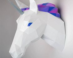 Papercraft unicorn | DIY wall mount | 3D paper sculpture | Printable & downloadable PDF pattern | Low poly unicorn model