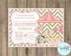 Carousel Invitation Carnival Invitation Printable Pink Gold Glitter by Sparklefly Paperie by SparkleflyPaperie on Etsy