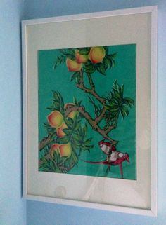 Using vintage tea towels which are too colourful to use in the kitchen as wall art. #wallart #teatowel #craft