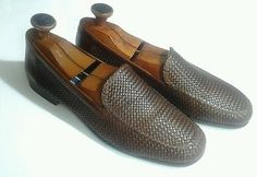 0481ed5c312 Bragano Cole Haan Men s Sz 10.5 Brown Leather Loafer Shoes Weave Slip On  Italy Brown Leather