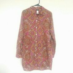 """Paisley Boho Cotton Button Up Cool breezy super lightweight semi sheer button up blouse. Tommy Bahama - size L - 100% cotton Pink orange resort vacation vintage jet set inspired print. Size L shirt. Fits many sizes. Nice + long. Shown worn as a dress on 5'8"""" size small. Semi sheer thin cotton. Super cute as a bathing suit cover up. Or white jeans and sandals. Gladiator sandals a straw bag, big sunnies + floppy hat.  Great condition.  Cool preppy meets bohemian hippie feel. Tommy Bahama Tops…"""