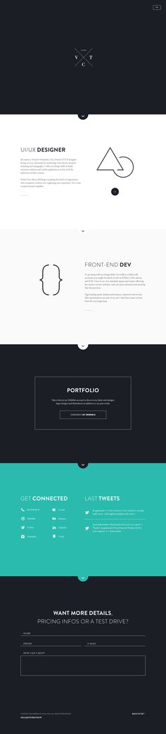 Personal website by Vincent Tantardini, via Behance. I like the typography and good use of type weight.