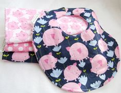 Baby Girl Bib Pink Pigs on Navy cotton bib with by MomNMiaQuilts