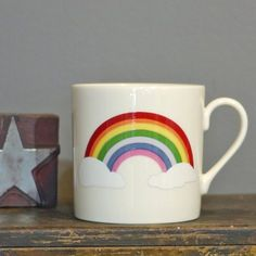 Unite & Type - Fine English bone china and creamware ceramic collections from big tomato company made entirely in Stoke-on-Trent, England - rainbow small mug