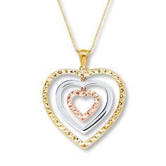 Heart Necklace 10K Tri-Color Gold