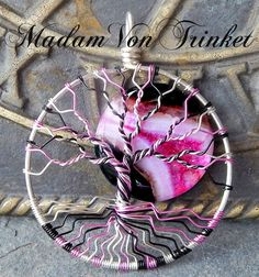 Pink and Black Wire Wrapped Tree of Life with Genuine Agate Moon by MadamVonTrinkets $27 http://www.etsy.com/shop/MadamVonTrinkets #wire #wrapped #jewelry #pink #treeoflife