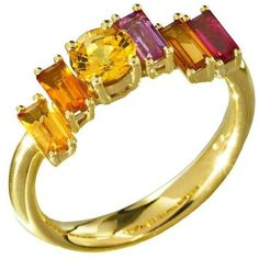 Preowned Daou Golden Light Sunset Sunrise Ring, Sapphire, Citrine,... ($2,279) ❤ liked on Polyvore featuring jewelry, rings, fashion rings, multiple, gold sapphire ring, sapphire cocktail ring, gold jewellery, long rings and cocktail rings