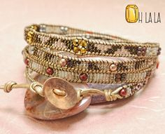 Leather Bracelet Wrap with Crystals and Beads on Pearl Leather