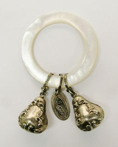 Vintage Mother of Pearl and 925 Sterling Silver Baby Rattle from Niagara Falls