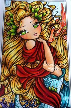 Coloured By Marilyn Jane Knott. Atlantis Mermaid from Enchanted Faces by Hannah Lynn x Coloured using Copics .