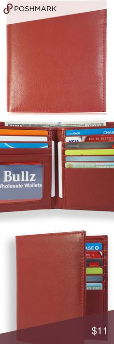 Mens Trifold Genuine Leather RFID Blocking Wallet Brown New Bullz Wallets