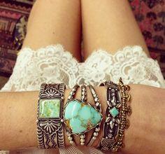 Summer time Aqua Marine Turquoise silver bangle bracelets #boho