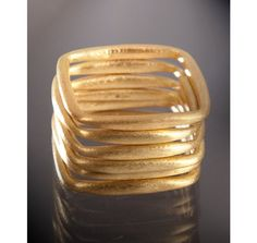 Kevia - set of 6 - gold square stacking rings