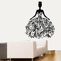 Wall Decals Fashion Girl Woman in Floral Dress Design Beauty Salon Beauty Shop Home Interior Vinyl Decal Sticker Art Living Room Decor  ☆ º ♥