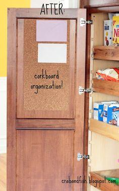 {{ crab+fish }}: corkboard + envelopes = kitchen organization