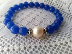 Pulsera de agata azul perla cultivada y plata por CaneladePlata.
