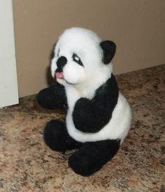 Adorable Needle Felted Panda Bear by KathysCraftShop on Etsy