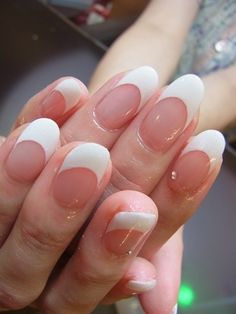 Pretty oval French manicure