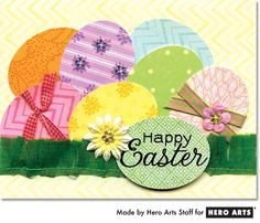 Cute Happy Easter Egg Card...by Sally Traidman. #HeroArts.