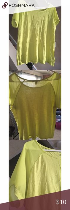 T shirt with mesh sleeve detail Shirt with mesh detail, is highlighter green/yellow in person. Not as bright in photographs, cute for a street style outfit. Forever 21 Tops Tees - Short Sleeve
