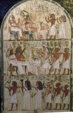 A family, among them some priests, during offerings for their deceased parents, sitting on a throne, tomb of Maja (today: Turin, Egyptian Museum
