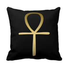 Egyptian Ankh Throw Pillow symbolizing the protection of the Egyptian god Horus. This design is available on other products in egyptiansymbols.peculiardesign.net . See other collections in peculiardesign.net