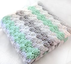 Crib Size Crochet Baby Blanket in stripes of mint green, white and light grey…